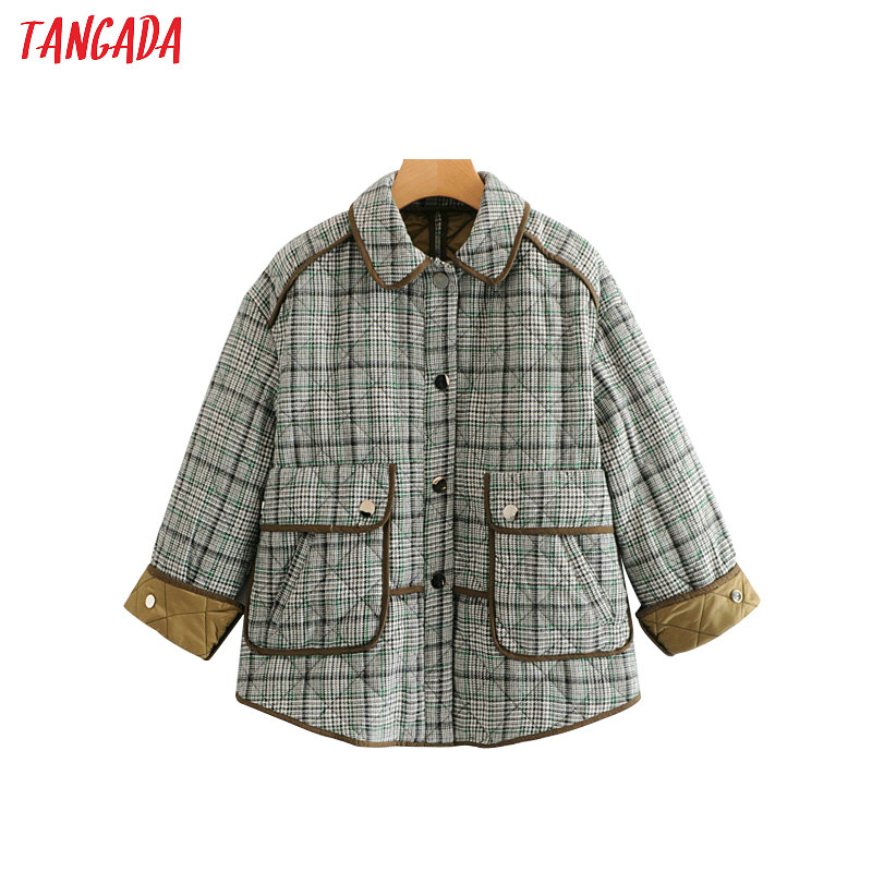 Tangada winter women plaid parka jacket quilted janpan style high street cotton padded jacket coat thicke