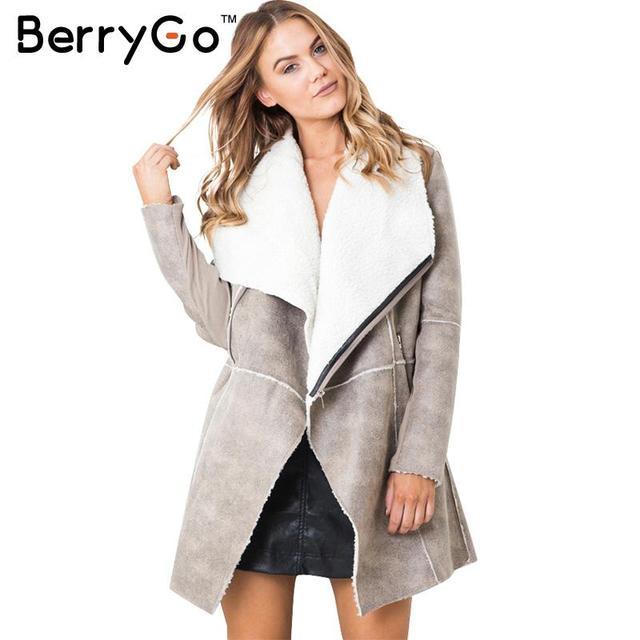 BerryGo Замши овечьей шерсти пальто женщин 2016 Осень зима теплая молния длинное пальто Элегантный широкий талией пальто кашемир
