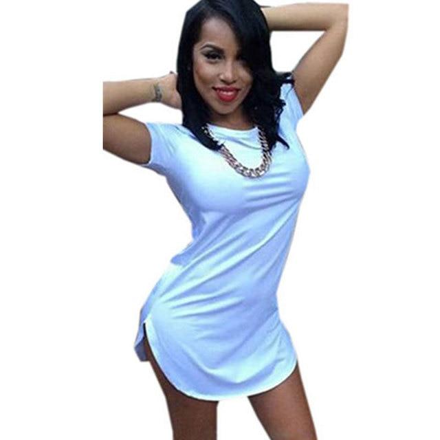 5c767d5a1cd Women White Black Tshirt Dress Summer Style 2016 Sexy Bandage Short Beach  Dress Cotton Long Tops