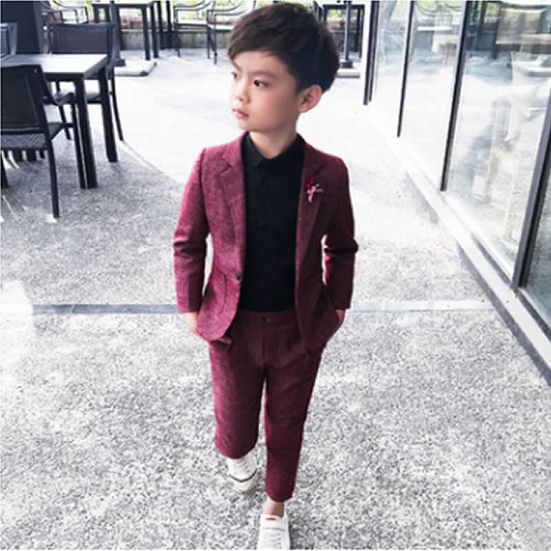 цена на Small children suit spring autumn period leisure boy suit two woolly host dress costumes coat pants vest set suit