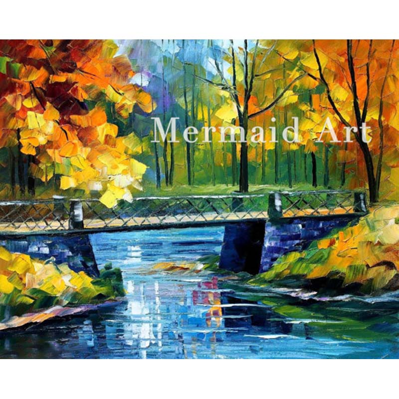 Hand Painted Landscape Abstract Palette font b Knife b font Modern Bridge Over Stream Oil Painting