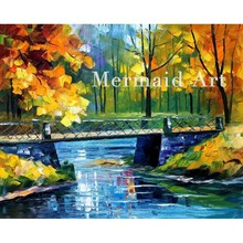 Hand Painted Landscape Abstract Palette Knife Modern Bridge Over Stream Oil Painting Canvas Wall Living Room Artwork Fine Art