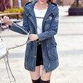2016 Otoño Invierno Moda Ropa de Las Mujeres Cuff Zipper Desgin Vintage Jeans Denim Chaquetas Abrigos prendas de Vestir Exteriores Femenina Chaqueta Larga Con Capucha