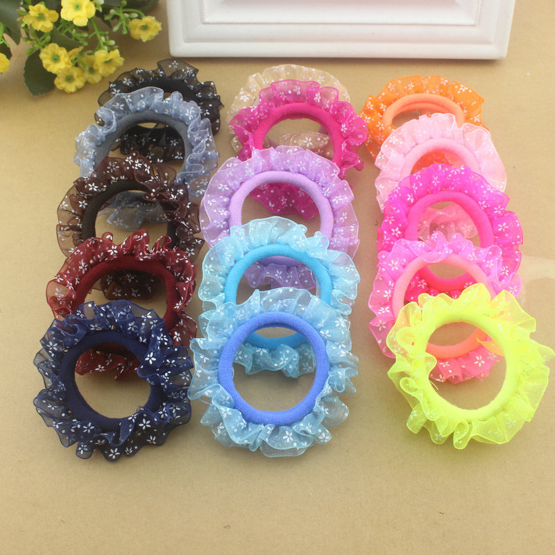 10pcs/lot Lace Hair Holders Elastics 2016 New 12 Colours Fashion Candy Colours Child Girls' Rubberbands Tie Gum Hair Accessories