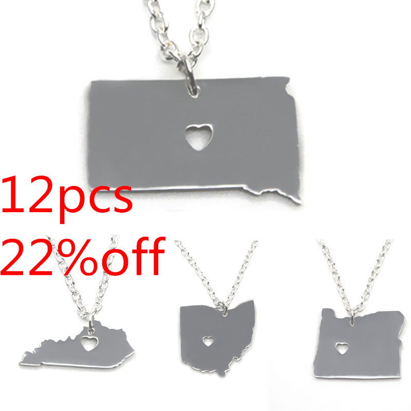 US State map necklace silver tone California Mhigan Maryland Montana Vermont Oregon Ohio Massachusetts Kansas Colorado necklace