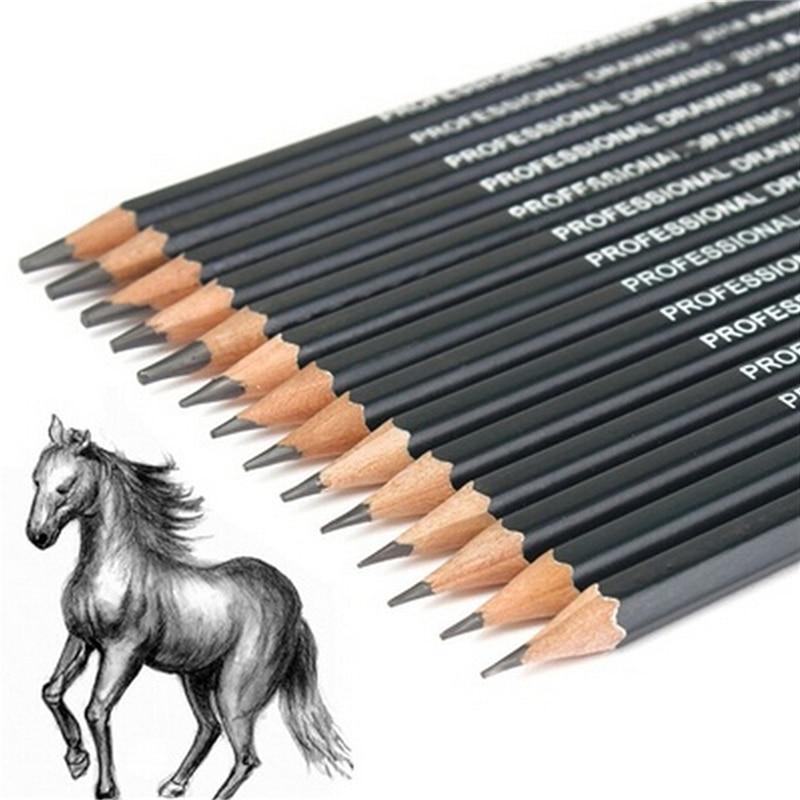 14pcs Sketch and Drawing Pencil lapis Set HB 2B 6H 4H 2H 3B 4B 5B 6B 10B 12B 1B faber castell 16pcs drawing pencil 8b 7b 6b 5b 4b 3b 2b b hb f h 2h 3h 4h 5h 6h standard pencils for school sketch pencil set