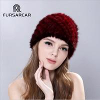 FURSARCAR חדש נשים אמיתיות לסרוג מינק פרווה כובעי כיסויי ראש כובעי כובעי Beanie בימס אופנה שונות כיסוי פרווה אמיתית לנשים