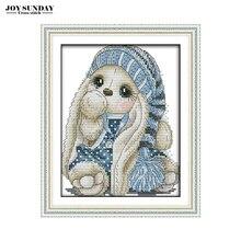 A Rabbit In Blue Hat Joy Sunday Cross Stitch Kits Embroidery Needlework Sets Cartoon Patterns DIY DMC Threads Canvas Painting