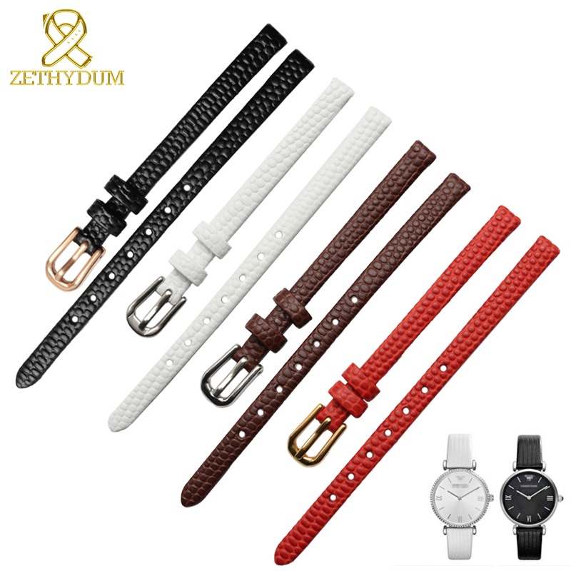 Genuine Leather Watchband Womens Bracelet 6 8 10 12mm Lizards Leather Watch Strap Small Wristwatches Belt Pin Buckle