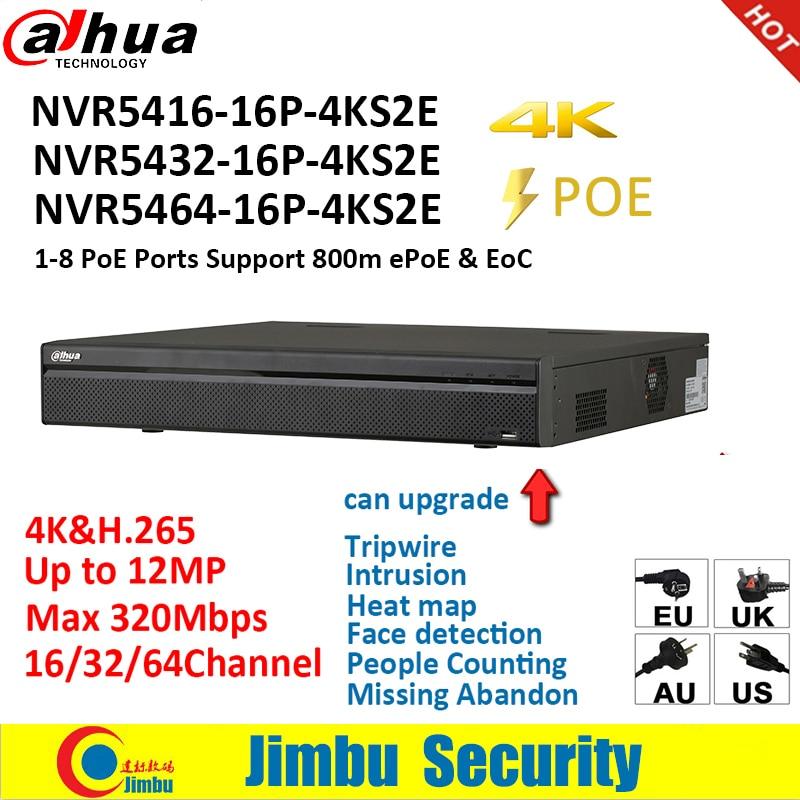 Dahua NVR 4 k PSP Video Recorder NVR5416-16P-4KS2E NVR5432-16P-4KS2E NVR5464-16P-4KS2E 16PoE 16CH 32CH 64CH persone countiing