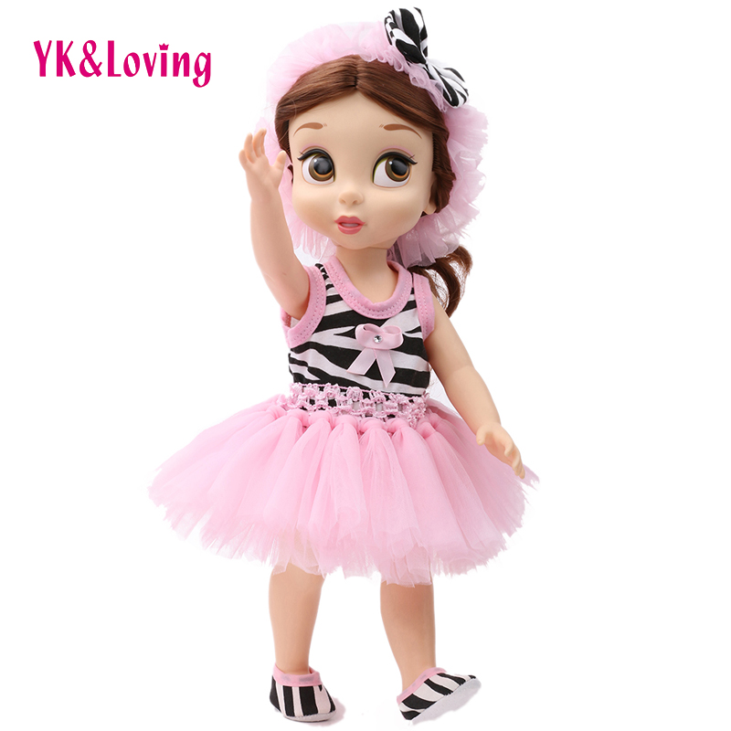 4Pcs Doll Clothes Accessories 18 American Girl High Quality Princess Dresses Clothing Set Pink Tutu Skirt 2016 Popular Gifts 9 colors american girl doll dress 18 inch doll clothes and accessories dresses