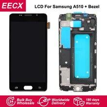 ЖК дисплей A510F для Samsung Galaxy A510F, A5 Duos (2016), A510M, сенсорный экран с цифровым преобразователем, с рамкой