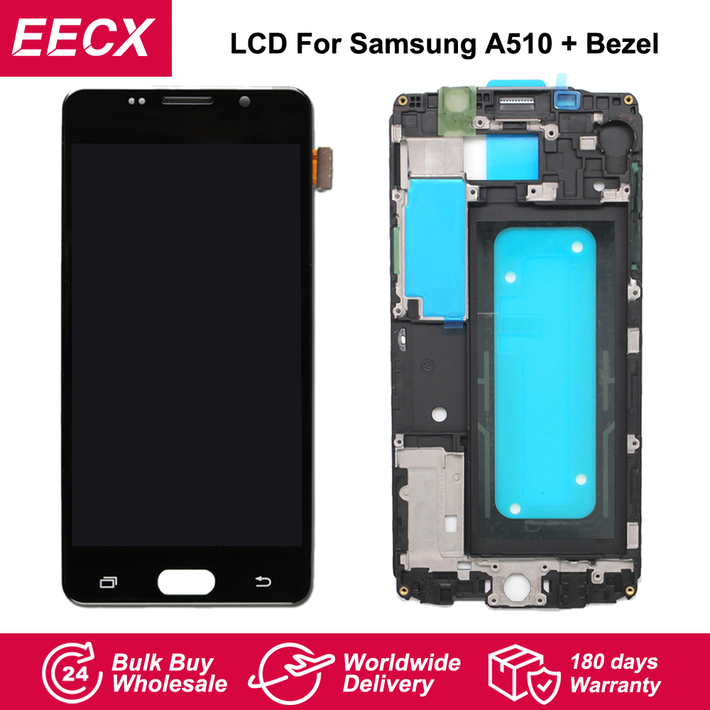 Super AMOLED A510 LCD For <font><b>Samsung</b></font> Galaxy <font><b>A510F</b></font> A510M A510Y LCD Screen <font><b>Display</b></font> Touch Screen Digitizer w/ Frame A5 2016 LCD image
