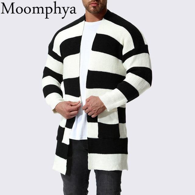 Moomphya Stylish Black And White Stripes Men Cardigan Sweater