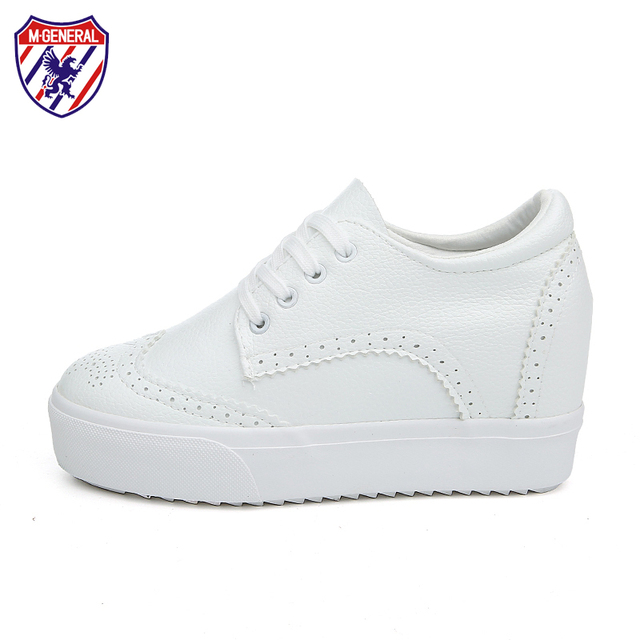 M.GENERAL Women Inner Height Increasing Casual Shoes Woman Lace up Canvas Shoes Warm Autumn Female Comfortable Shoe #0076