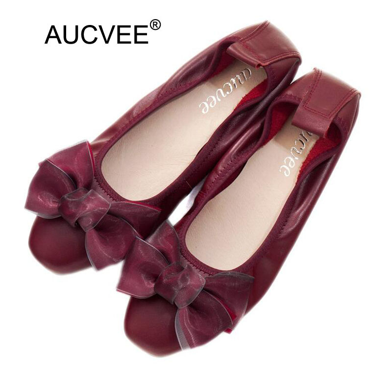 Plus Size Women Genuine Leather Flat Shoes Newest Style Female Single Shoes Women Flats Bow Shallow Mouth Low-heel Shoes Woman aiyuqi 2018 spring new genuine leather women shoes shallow mouth casual shoes plus size 41 42 43 mother shoes female page 5