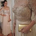 Custom Made Three Quarter Plus Size Mother of the Bride Dresses Chiffon Appliques Beaded A Line Evening Gown