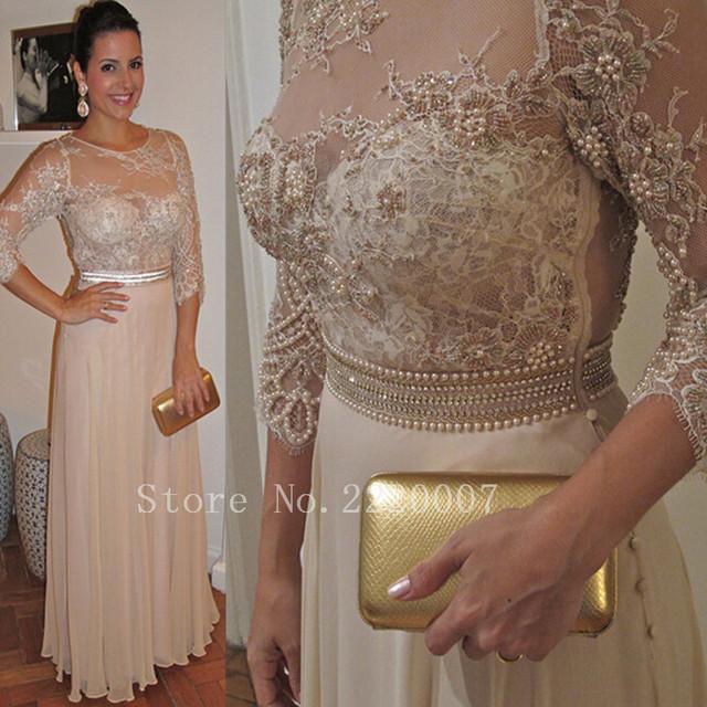 Por Encargo de Tres Cuartos del Tamaño Extra Grande Madre de los Vestidos de Novia de Gasa Apliques de Cuentas Una Línea de Vestido de Noche