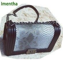 c4a51cda43db Классическая Сумка-цепочка с узором змеиной кожи pochette sac femme  винтажные женские сумки на плечо