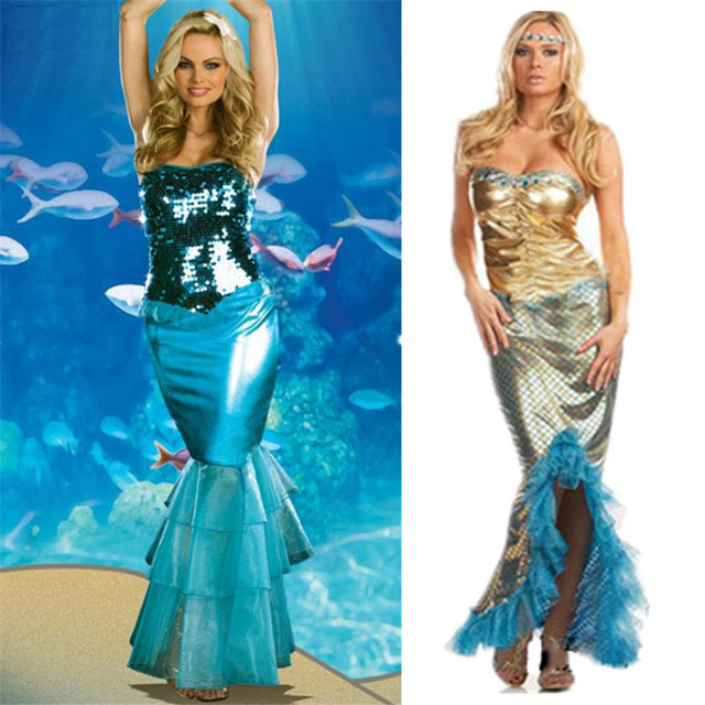 Sexy Sequin Mermaid Dress Halloween Adult Ariel princess Cosplay Costume  Marine theme party Dress Carnival Masquerade clothing ddcdacf84307