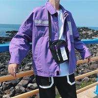 Purple Japanese Jacket Male Casual Slim Punk Hip Hop Baseball Hip Hop Cool Jackets Men Punk Streetwear Young Men Clothing 5J03