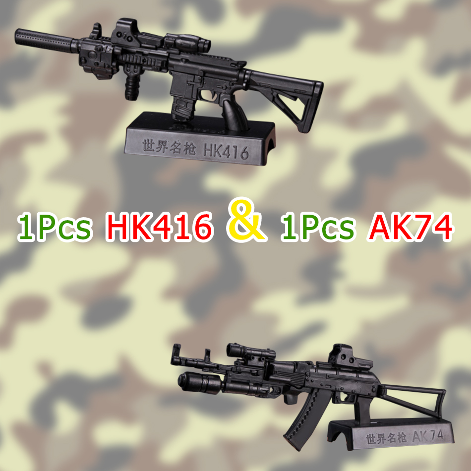 цены 2Pcs/set HK416+AK-74 1:6 Scale Soldier Figure Accessory Toys Gun Weapon Model for Military 12