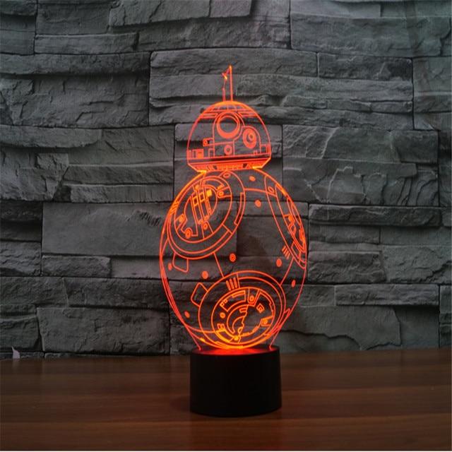 3D эффект из светодиодов гуэрра де-лас-gafas Galaxias BB-8 Droid градиент визуальный сенсорный выключатель светло-до игрушка настольная лампа личная настроение создатель