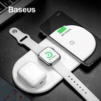 Беспроводное зарядное устройство Baseus для iPhone X XS MAX XR 8 быстрая Беспроводная Полная нагрузка 3 в 1 Зарядная панель для Airpods 2019 Apple Watch 4 3 2
