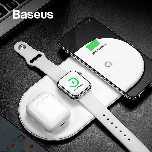 Cargador inalámbrico Baseus para iPhone X XS MAX XR 8 carga completa inalámbrica rápida 3 en 1 almohadilla de carga para los Airpods 2019 Apple reloj 4 3 2