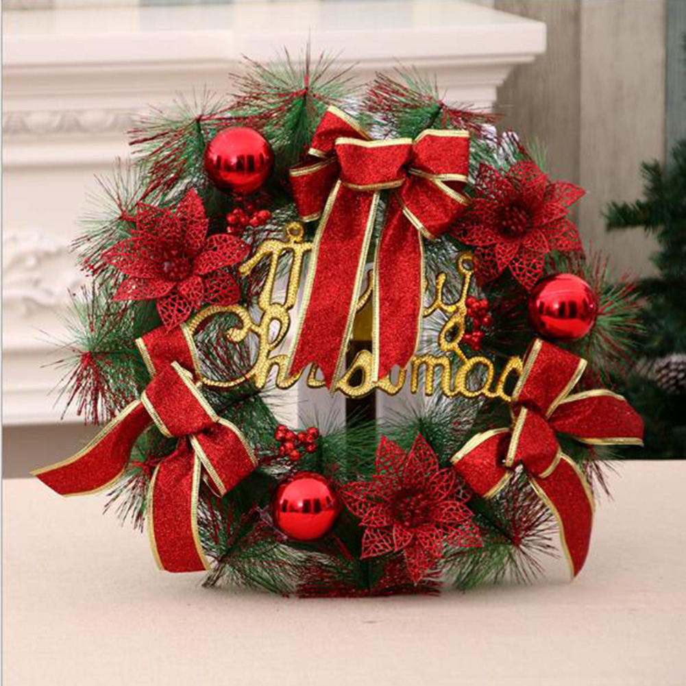 aliexpresscom buy sanyi christmas wreath christmas ball bowknot ornaments wreath for home santa snowman grand tree christmas xmas decoration from - Christmas Ball Wreath