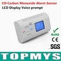 Envío Gratis 2 unids/lote co detector para el hogar Nuevos sensores de monóxido de carbono CO detector con pantalla LCD y mensaje de voz