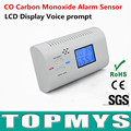 Free Shipping 2pcs/lot co detector for home Newest carbon monoxide sensors CO detector with LCD display and voice prompt