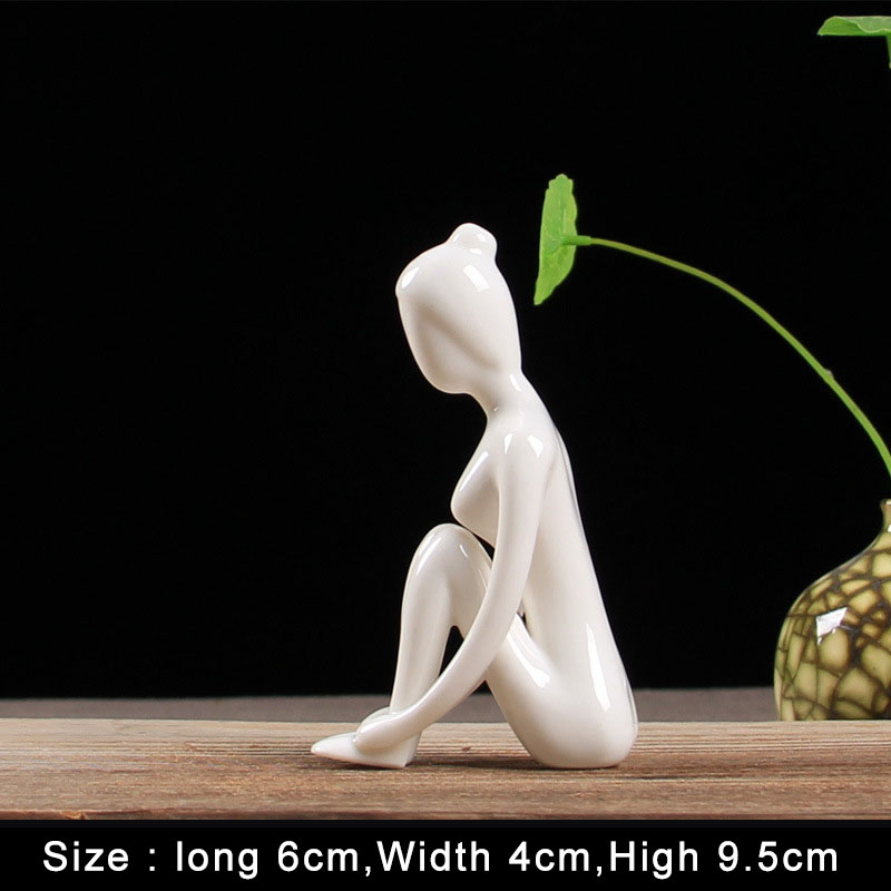 Hot Sale Ceramic Girl Figurine Modern Home Decor Abstract Figures Small Ornament for Living Room Yoga Studio