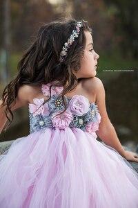 Image 3 - Розовое и серое платье пачка с цветами для девочек, свадебное платье из тюля, свадебные платья для девочек, платье с розами, детская одежда для девочек