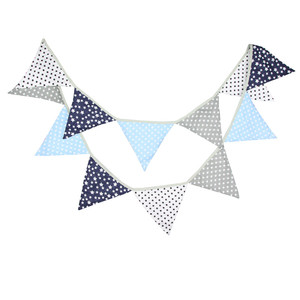 12 Flags 3.2m Blue Silver Dot Stars Cotton Fabric Bunting Pennant Flags Banner Garland Baby Shower/Outdoor DIY Home Decoration(China)
