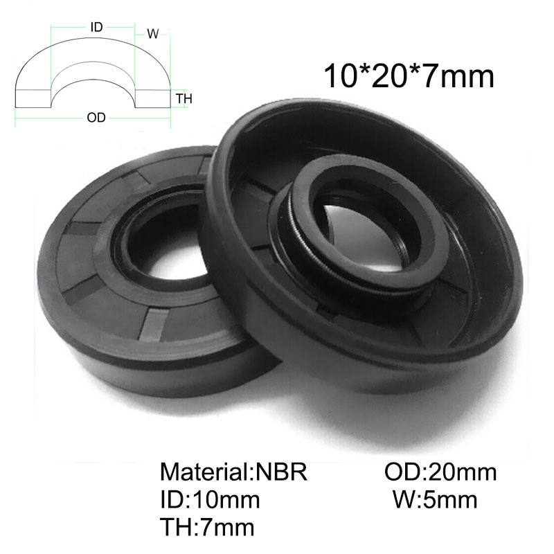 20pcs NBR Shaft Oil Seal TC 10 20 7 Rubber Covered Double Lip With Garter Spring