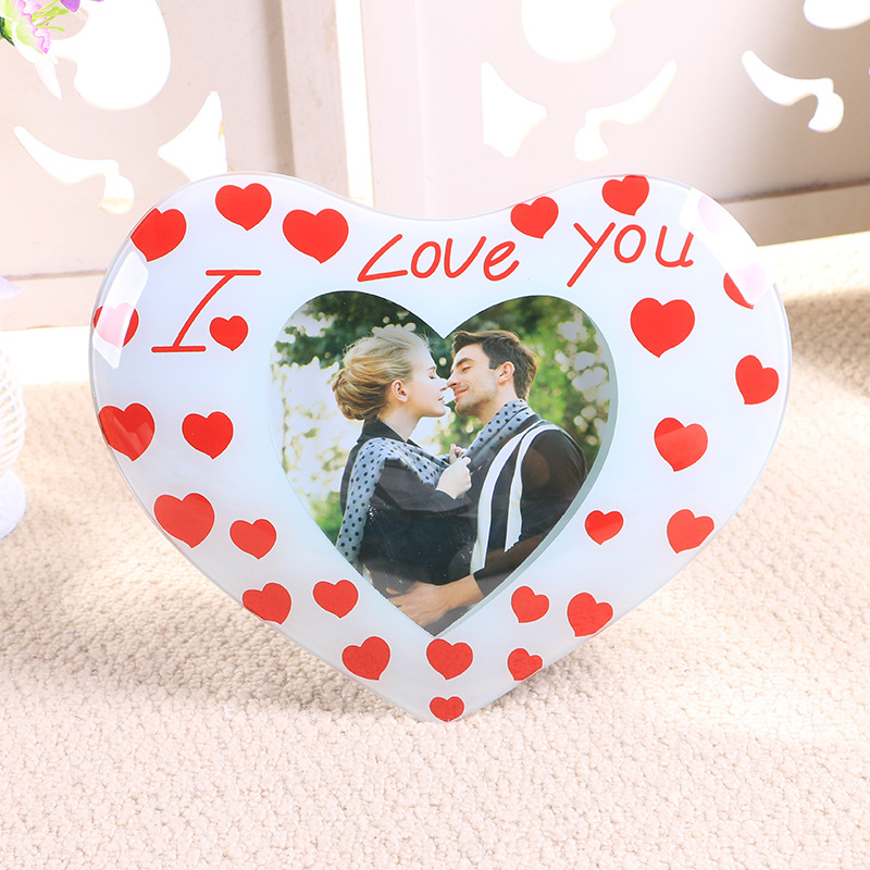 Crystal Glass Love Theme I Love You Table Decor Wedding Photo Frames