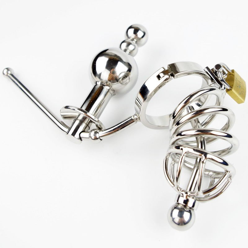 Male Siamese Anal plug Chastity Cage Device Stainless Steel Adjustable Butt beads Adult Sex Toys For Men Chastity Belt newest beads anal plug chastity belt