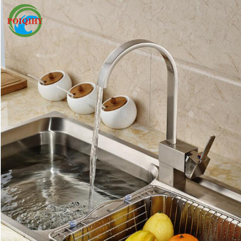 Strong Durable 360 Rotation Kitchen Mixer Faucet Single Handle One Hole Kitchen Taps Nickel Brushed with