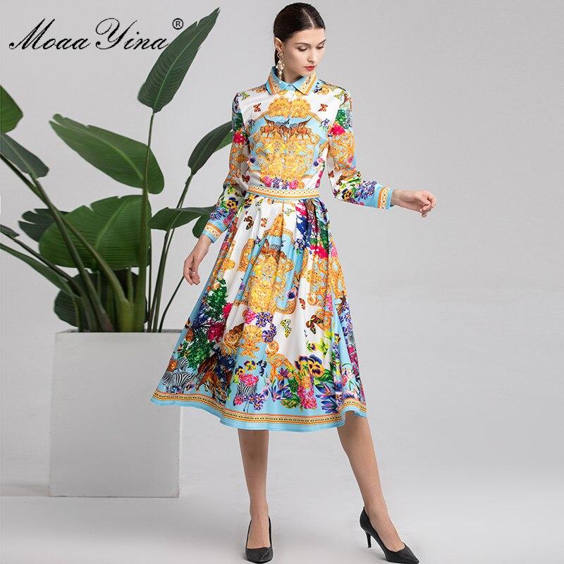 MoaaYina Fashion Designer Set Autumn Women s Long sleeve Animal Floral Print Elegant Blouse Runway Midi