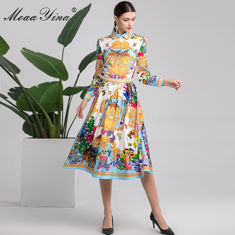 MoaaYina Fashion Designer Set Autumn Women's Long sleeve Animal Floral Print Elegant Blouse+Runway Midi Skirt Two piece suit-in Women's Sets from Women's Clothing    1