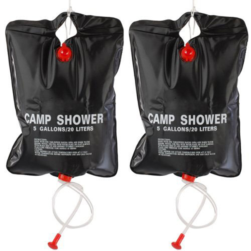2 x 20L Camping Shower bag- Portable Solar Heated 5 Gallon/20 Litre Travel Shower bag - Black2 x 20L Camping Shower bag- Portable Solar Heated 5 Gallon/20 Litre Travel Shower bag - Black