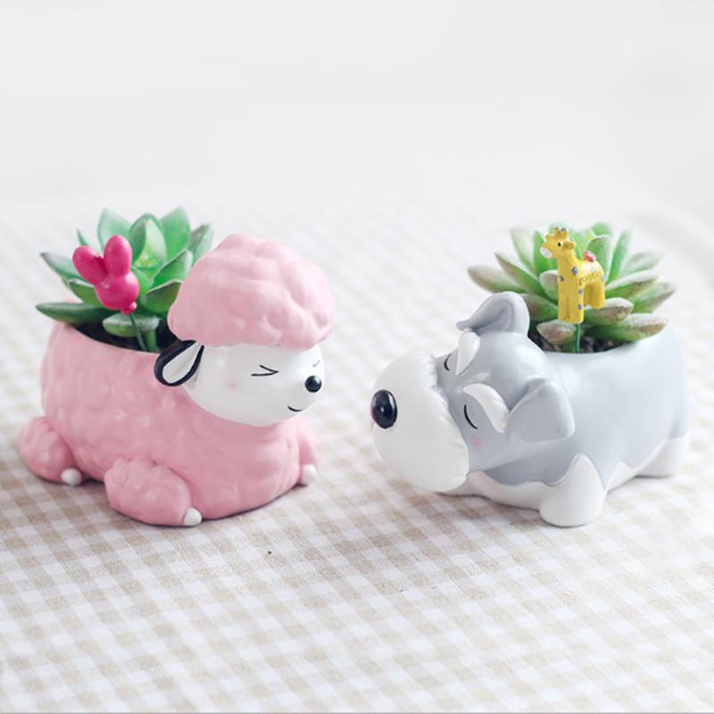 Succulent Plant Pot Cute Animal Flower Planter Flowerpot Create Design Lovely Little Animals Home Garden Bonsai Pots-in Flower Pots & Planters from Home & Garden