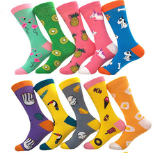 new women's couple tide socks personality funny funny woman long tube cotton socks cartoon animal color fruit socks 1 pairs цены