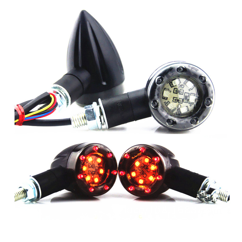 цены  Black M8 Motorcycle 6+7 LED Amber & Red Bullet Blinker Turn Signal Indicators Running Brake Tail Light Cruiser Chopper Custom