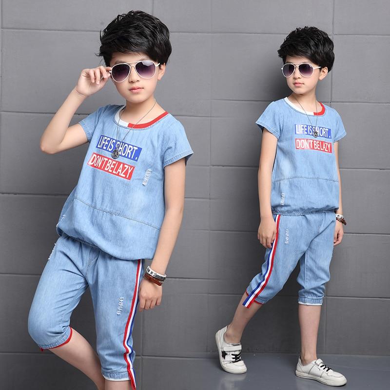 Meninos Roupas Meninos Denim Conjunto de Roupas de Verão T-shirt + Shorts 2 pcs Crianças Vaqueiro Meninos Terno de Algodão