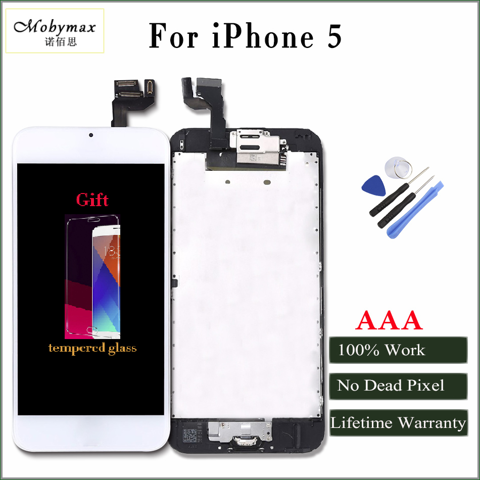 Moybmax factory All tested Full Asscembly lcd screen for iphone 5 with Home Button+Front Camera+Frame+gifts