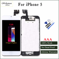 Moybmax Factory All Tested Full Asscembly Lcd Screen For Iphone 5 With Home Button Front Camera