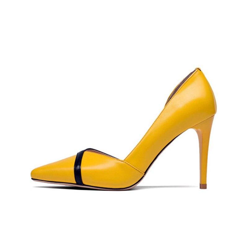 Nouvelles Femmes Taille Doratasia Chaussures Véritable Mince Peu Talons greenjaune Pompes 3439 Bout Cuir Casual Emerald Pointu Printemps Haute Profonde Femme De 1clJTFK