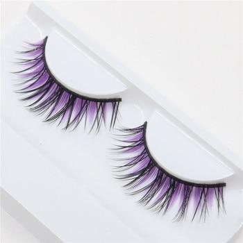 1 pairs natural fiber nude makeup holiday fashion purple stage false eyelashes